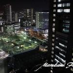 日赤病院と小児医療センター工事現場(基礎工事)夜景写真